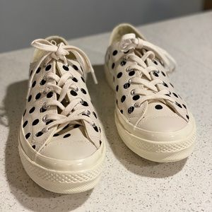 Men's converse with embroidered polka dots.